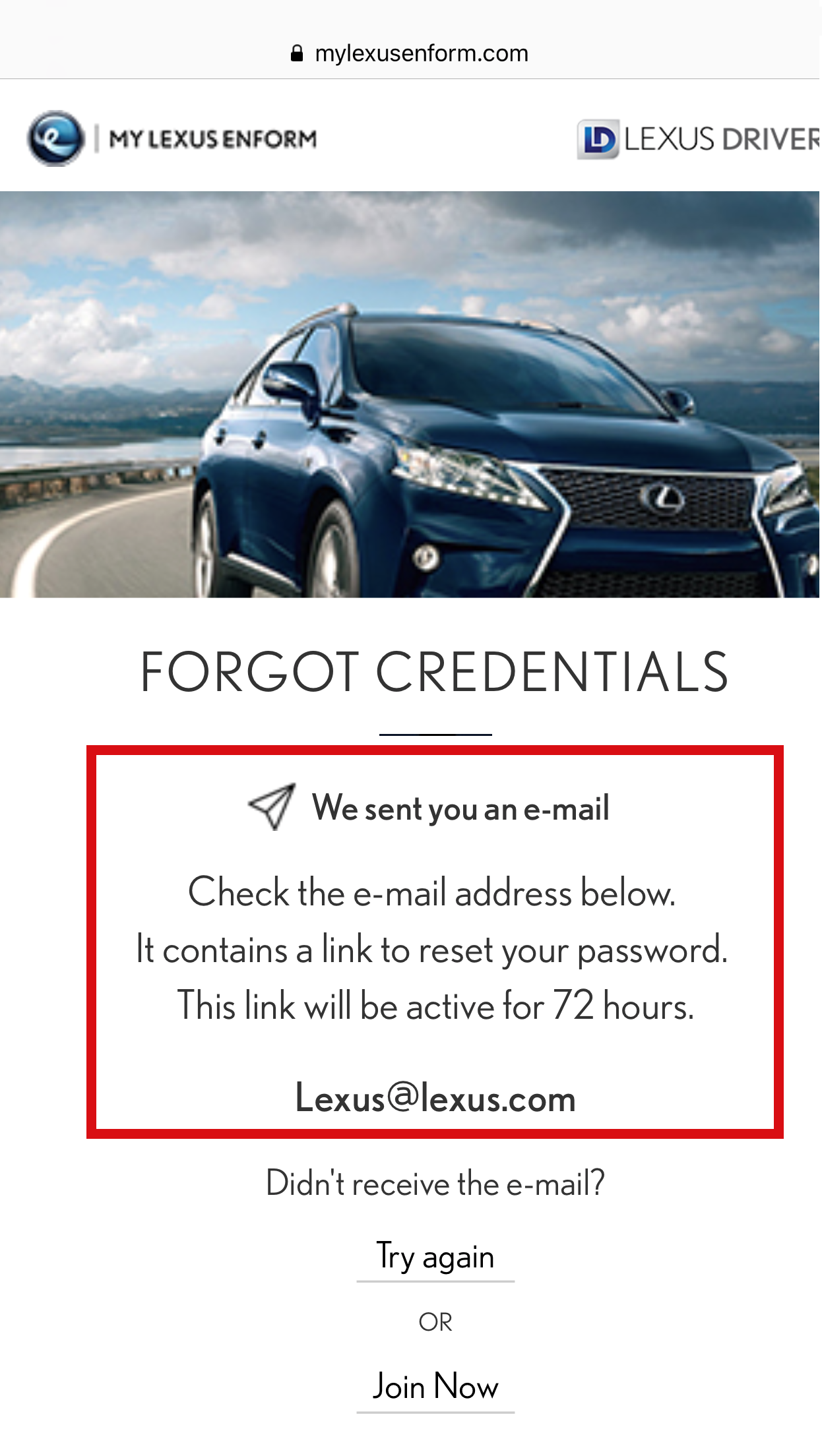 How can I reset my password for my Lexus Enform - Remote App?